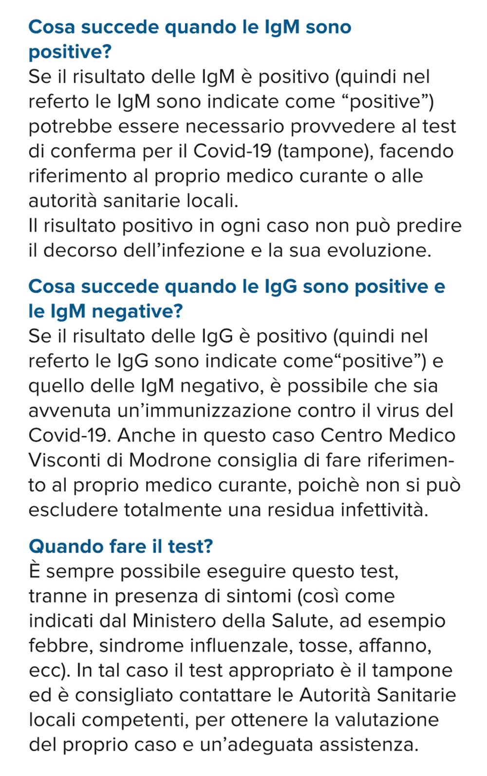 test positivo negativo covid-19 Anticorpi IGG IGM Milano-Centro Medico Visconti di Modrone
